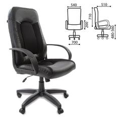 """Кресло офисное BRABIX """"Strike EX-525"""", экокожа черная, ткань черная, TW"""