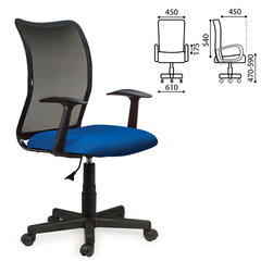 """Кресло оператора BRABIX """"Spring MG-307"""", с подлокотниками, комбинированное синее/черное, TW"""