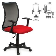"""Кресло оператора BRABIX """"Spring MG-307"""", с подлокотниками, комбинированное красное/черное, TW"""