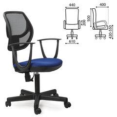 """Кресло оператора BRABIX """"Flip MG-305"""", до 80 кг, с подлокотниками, комбинированное синее/черное, TW"""