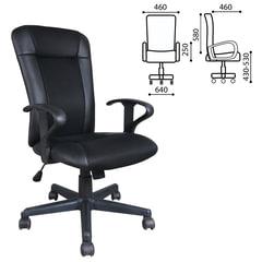 """Кресло оператора BRABIX """"Optima MG-370"""", с подлокотниками, экокожа/ткань, черное, код 1"""