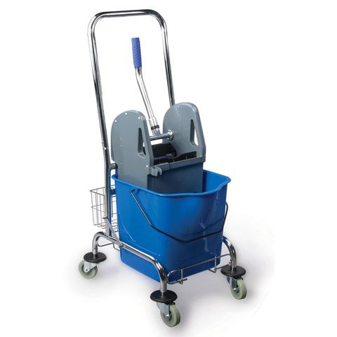 Тележка уборочная BRABIX, 1 съемное ведро 25 л, механический отжим, корзина, металлический каркас, синяя